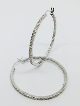 Nyla Star Pave Silver Hoops
