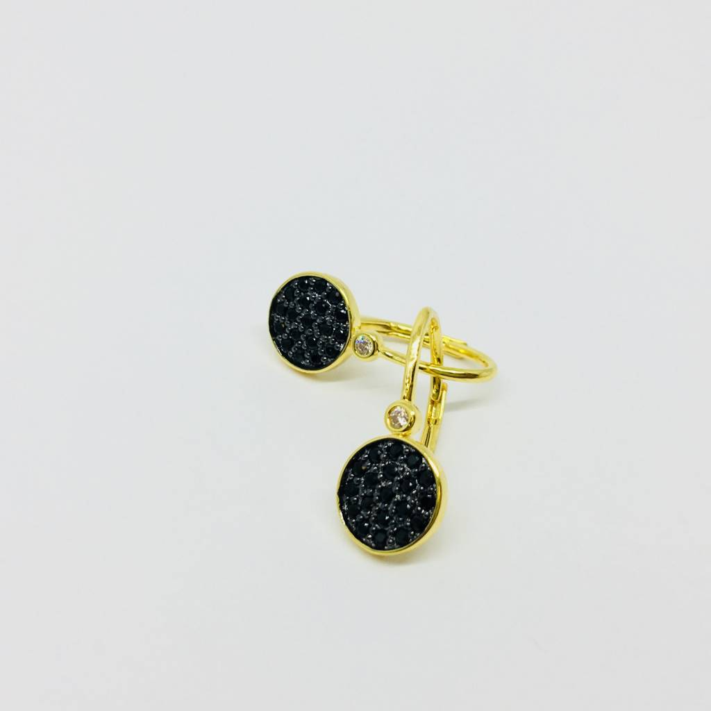 Nyla Star Hanging Pave Black Crystal Earrings