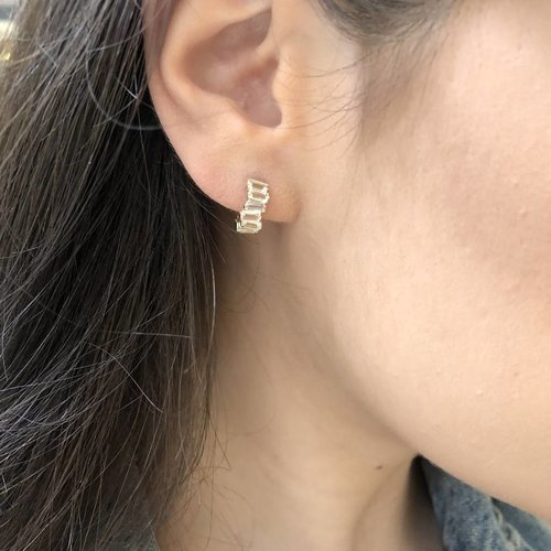Suzanne Kalan Baguette Huggie Earrings