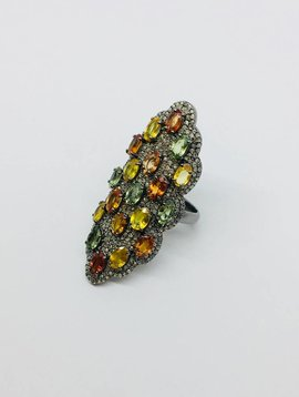 Lotasi Tourmaline and Diamond Ring