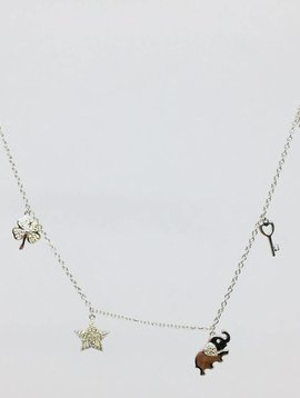 Lotasi Sterling and Diamond Charm Necklace