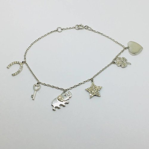 Lotasi Sterling and Diamond Charm Bracelet