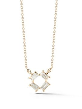 Dana Rebecca White Gold Open Baguette Necklace