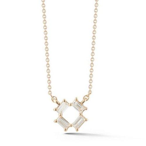 Dana Rebecca White Gold Open Baguette Necklace