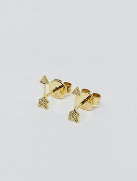 Majolie Diamond Yellow Gold  Arrow Earrings