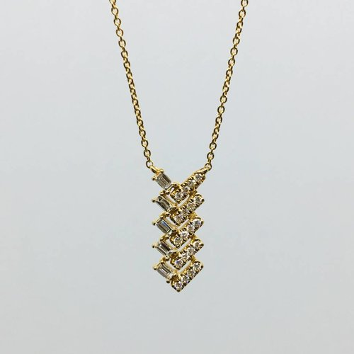 Dana Rebecca Stacked Baguette and Bezel Necklace