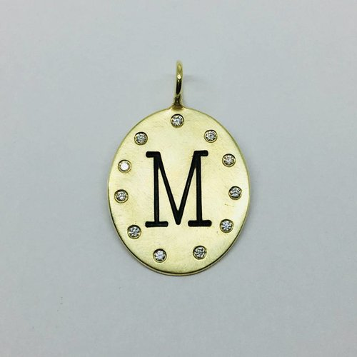 "Heather Moore Diamond Framed ""M"" Charm"