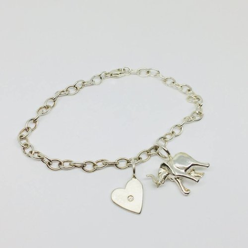 Heather Moore Silver Elephant Charm Bracelet