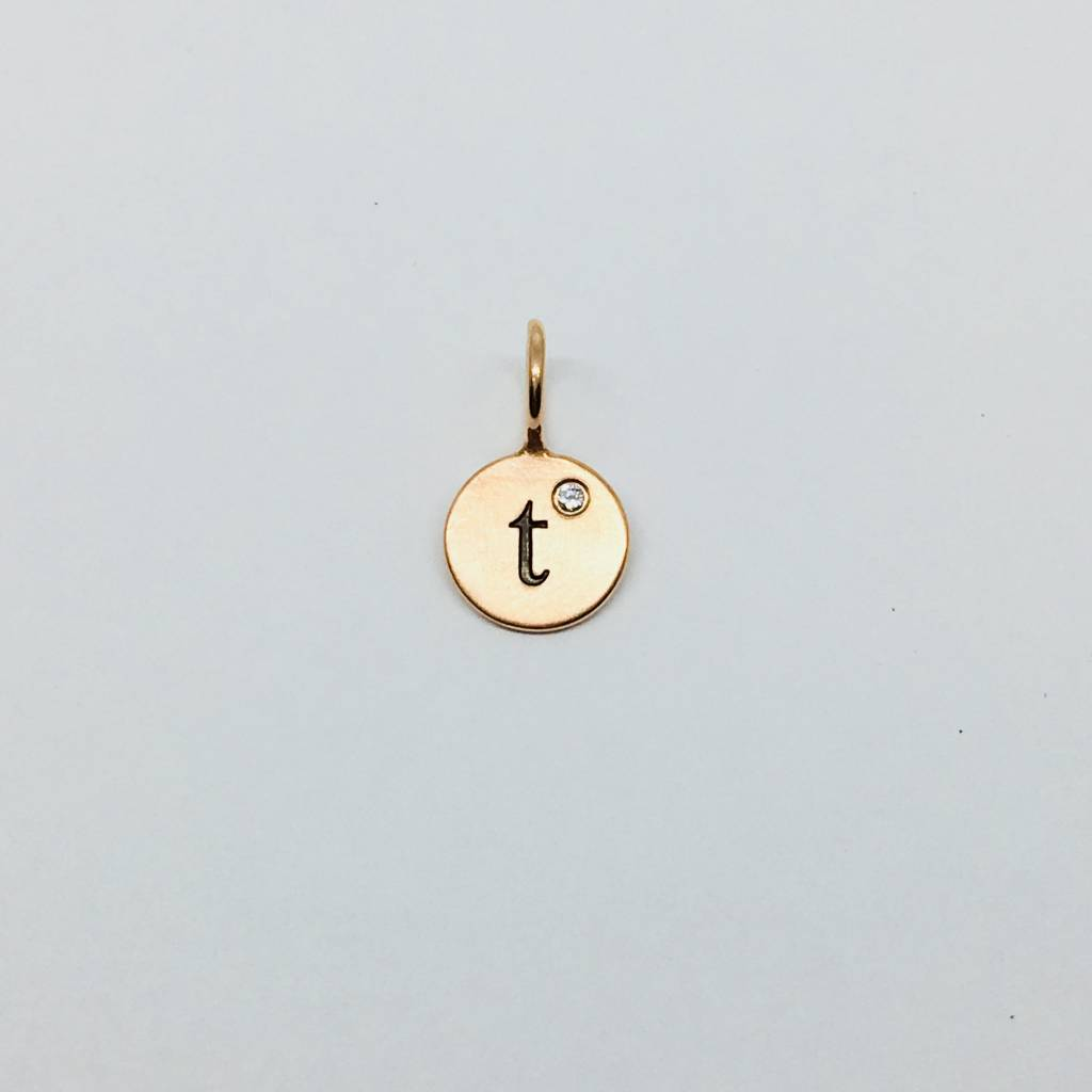 """Heather Moore """"T"""" Initial Charm"""