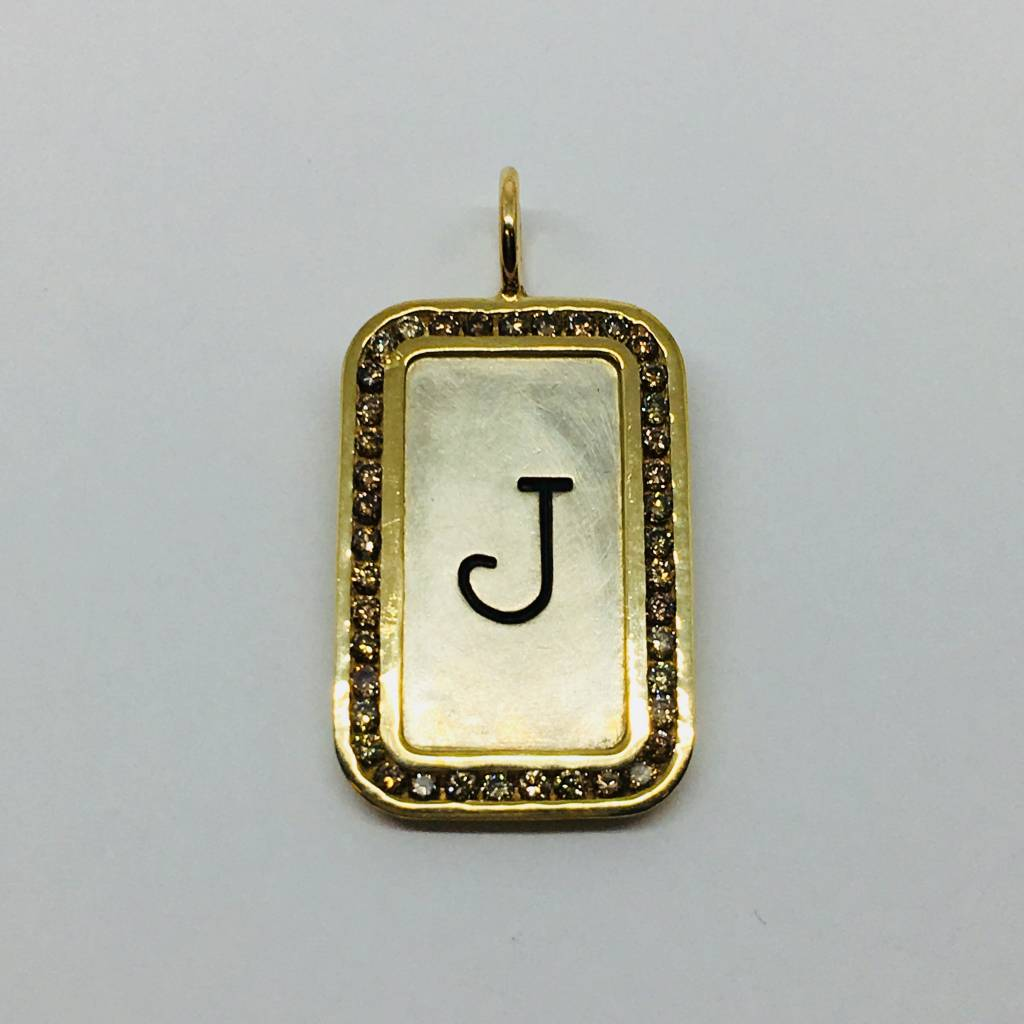 "Heather Moore Framed ""J"" Initial Charm"