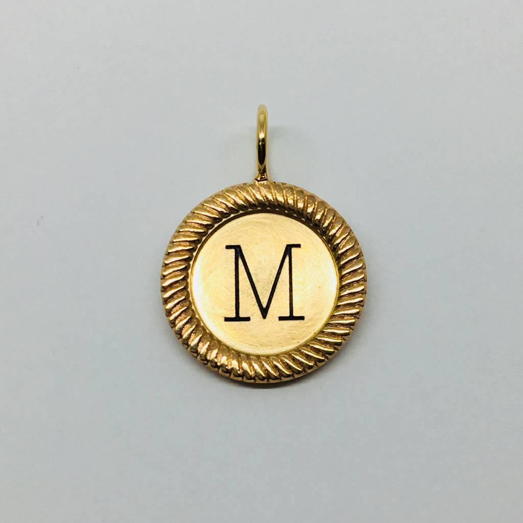 """Heather Moore Gold Framed """"M"""" Initial Charm"""