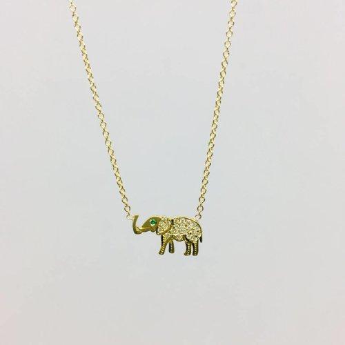 Jennifer Meyer Diamond Elephant Necklace