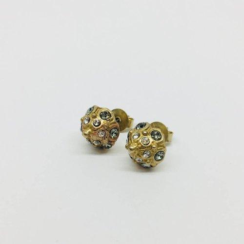 La Vie Parisienne Gold Domed Crystal Studs