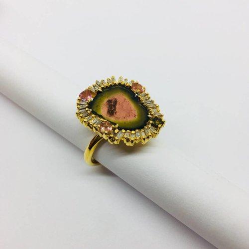 Lotasi Agate Slice Ring