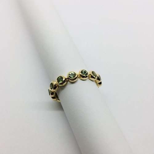 Lotasi Green Sapphire Bezel Stacking Ring