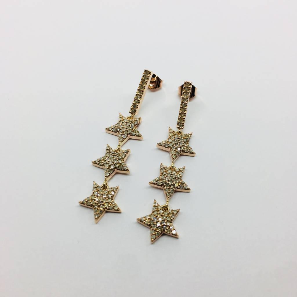 Lotasi Rose Gold and Diamond Drop Earrings