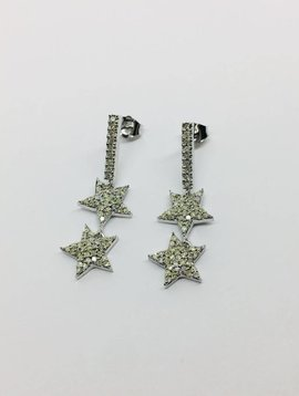 Lotasi White Gold and Diamond Star Drop Earring