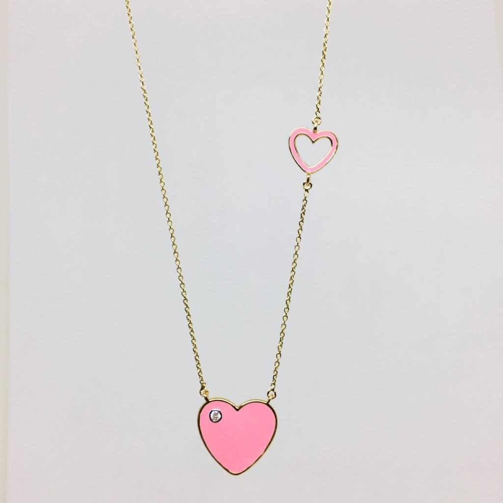 Lotasi Enamel Heart Necklace