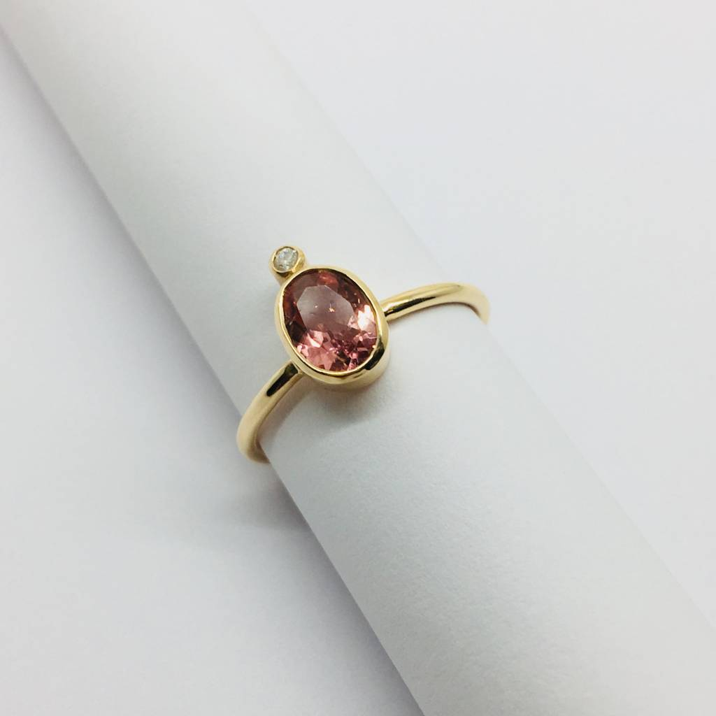 Lotasi Rose Sapphire and Diamond Bezel Ring