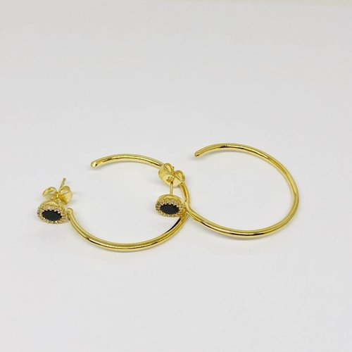 Nyla Star Black Accented Hoop Earring