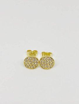 Nyla Star Yellow Gold Disc Earrings
