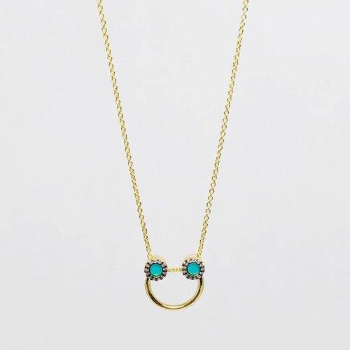 Nyla Star Turquoise Half Hoop Necklace