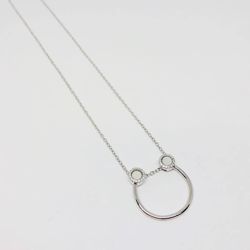 Nyla Star Silver Half Hoop Necklace