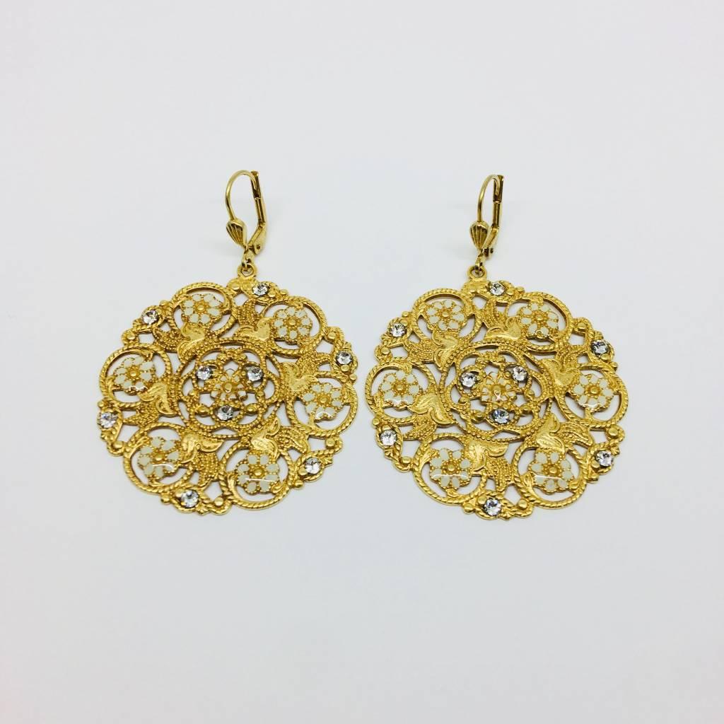 La Vie Parisienne Intricate Floral Circle Drop Earrings