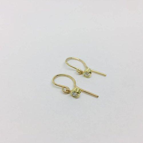 Jennifer Meyer Jennifer Meyer Diamond Drop Bezel Earrings