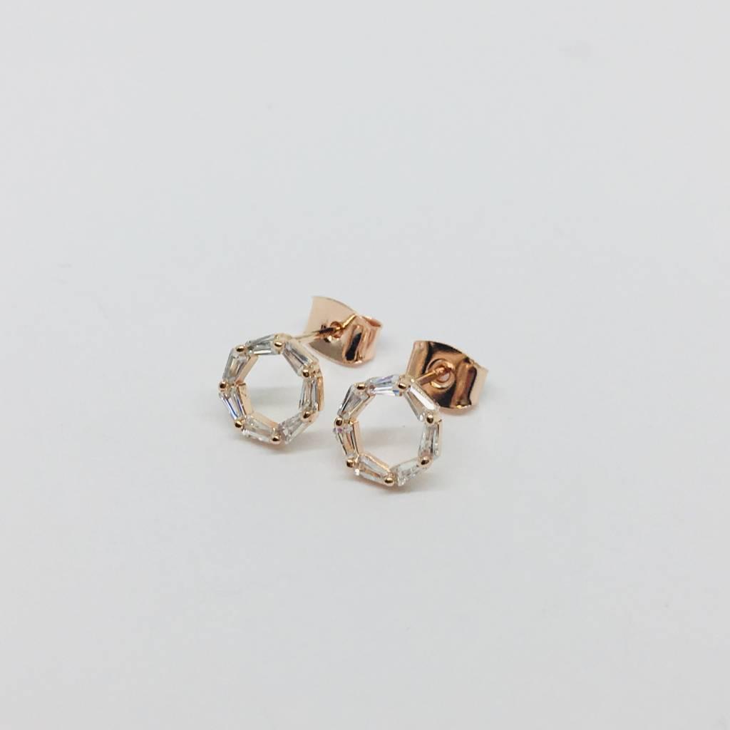 Theia Rose Gold Eternity Earrings