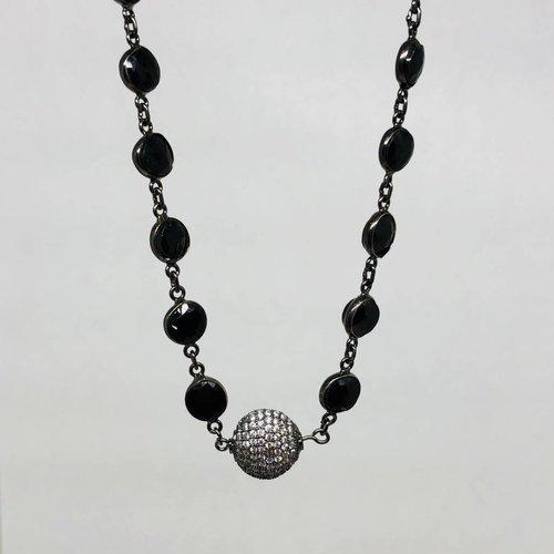Kat Designs Black Onyx Bezel and Pave Circle Choker