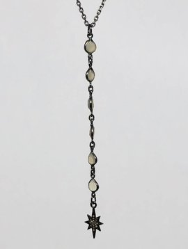 Kat Designs Cloudy Quartz Teardrop and Pave Starbust Lariat