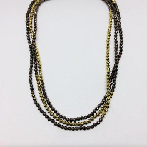 Kat Designs Bronze and Gold Hematite Stretch Necklace