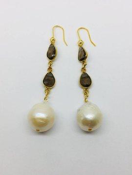 Kat Designs Gold Bezel and Smokey Quartz Drop Pearl Earrings