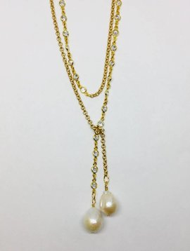 Kat Designs Yellow Gold Bezel and Pearl Lariat