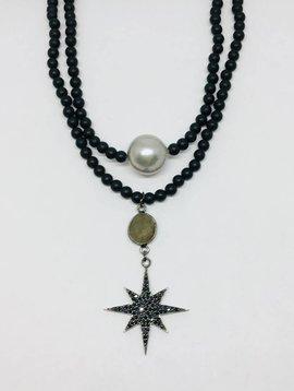Kat Designs Matte Black Stretch Pave Starburst Necklace