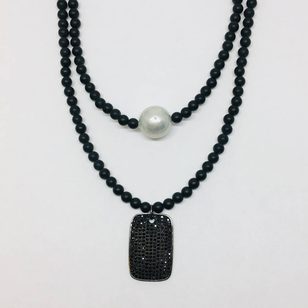 Kat Designs Matte Onyx Neclacke with Pave Dog Tag