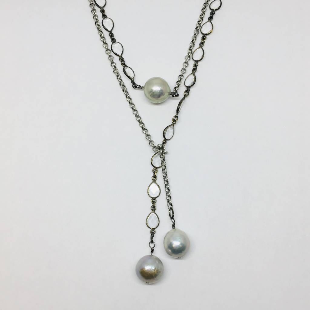 Kat Designs Silver Clear Teardrop and Pearl Necklace
