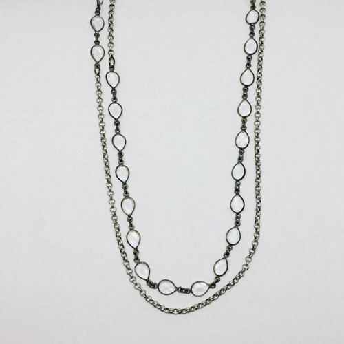 Kat Designs Clear Teardrop Long Necklace