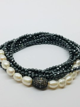 Kat Designs Oxidized Pave Oval and Hematite Stretch Necklace