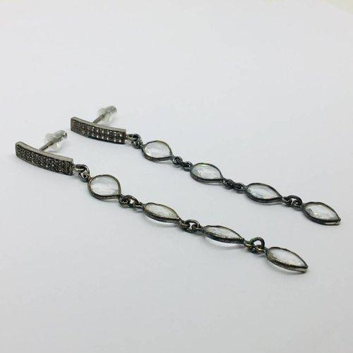 Kat Designs White Topaz Gunmetal and Crystal Drop Earrings