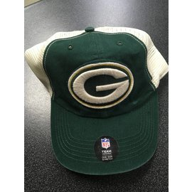 Green Bay Packers Adjustable Hat - Green Front, Cream Mesh Back Stretch