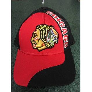 Chicago Blackhawks Adjustable Hat - Mostly Black, CHICAGO on front