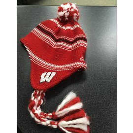 Wisconsin Badgers Red & White Pom & Tassels Knit Hat