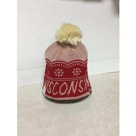 Wisconsin Badgers Cream With Snowflakes Knit Hat