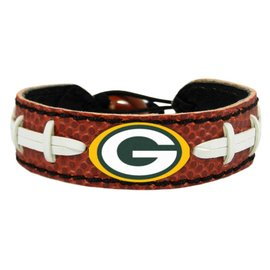 Green Bay Packers Brown Leather Football Bracelet