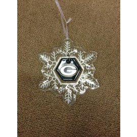 Green Bay Packers Glass Snowflake Ornament