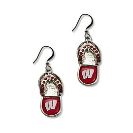 Wisconsin Badgers Flip Flop Dangle Earrings
