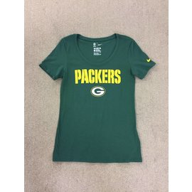 Green Bay Packers Women's Green Scoop Neck With Packers In Yellow Short Sleeve Tee