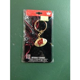 Wisconsin Badgers Gold Football Keychain